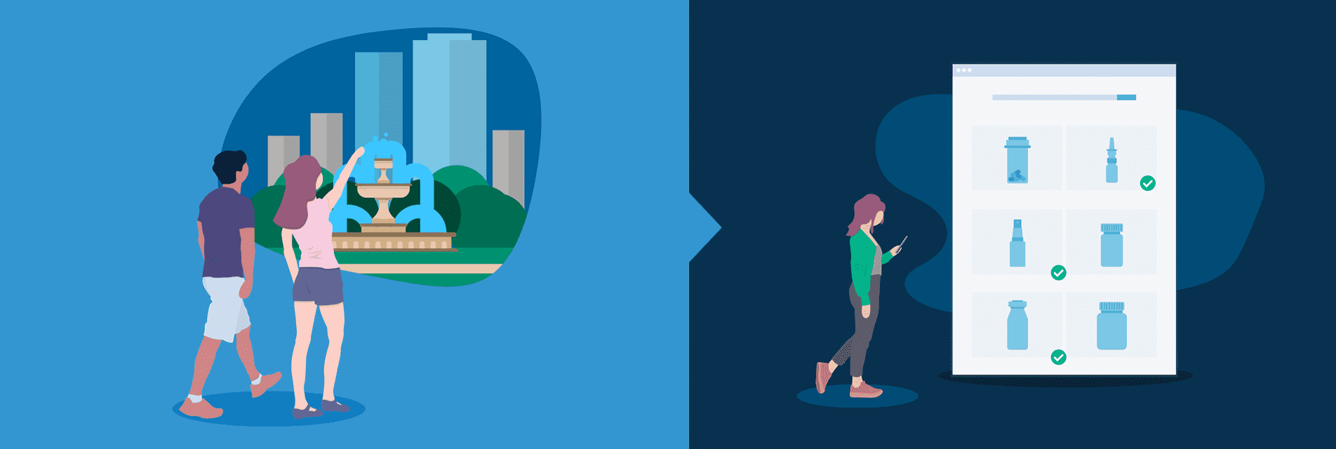 Illustration of people in city