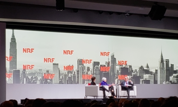 Kara Swisher, Janet Yellen, and Steve Liesman speak on stage at NRF 2019.
