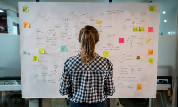 A woman faces a whiteboard filled with notes and plans.