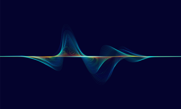 An animated sound wave moving across a dark blue screen.