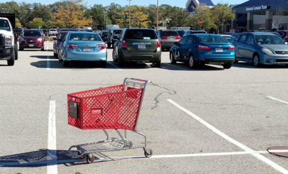 Shopping carts in a parking lot