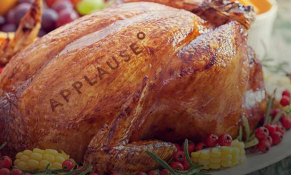Thanksgiving turkey with applause logo