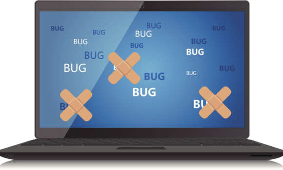 Images of 'bug' written on a computer screen