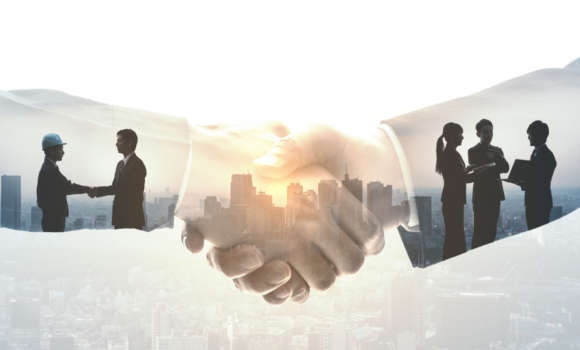 Vector of businesspeople reaching an agreement after successful negotiations.