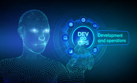 Devops. Agile development and optimisation concept on virtual screen.