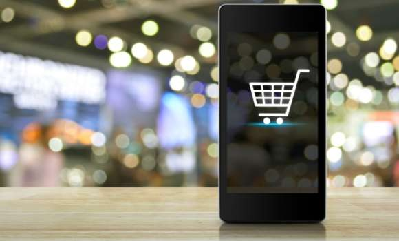 Shopping cart symbol on a phone