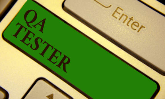 Image of a button that says 'QA tester'