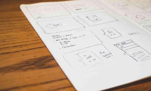 dessins UX wireframes dans carnet
