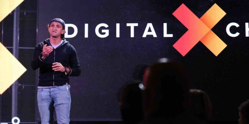Casey Neistat on stage at DigitalXChange 18