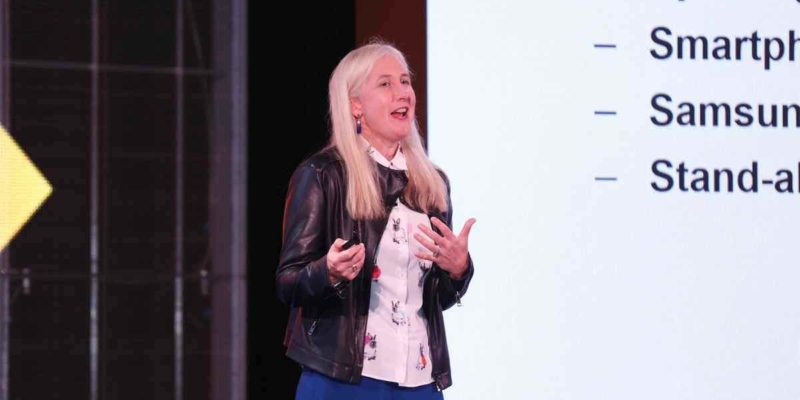 Julie Ask on stage at DigitalXChange 18