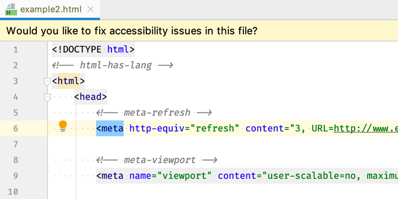 HTML code showcasing Applause Accessibility Tool offering to fix issues it finds.