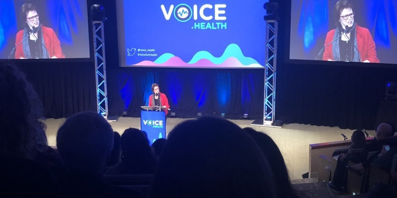 woman talking at voice.health conference
