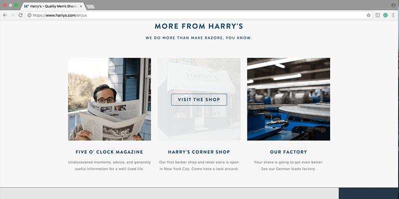 Harrys website screenshot
