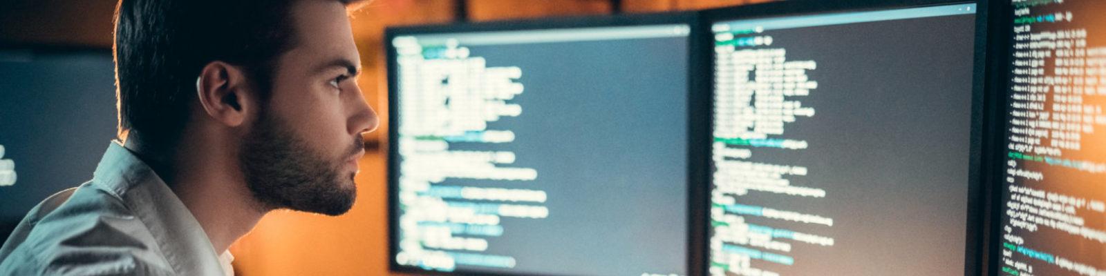 man Working on code