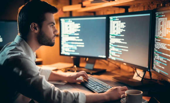 man Working on code