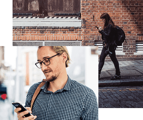 collage of people testing on phones