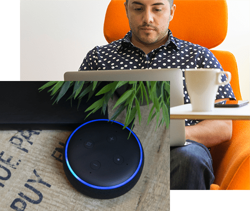 Collage of Amazon Echo Dot and man on computer