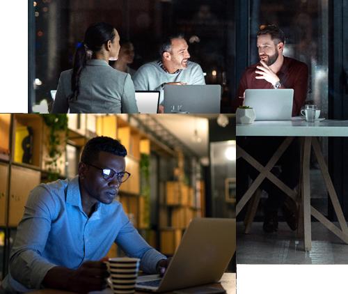 Collage de personnes sur les ordinateurs