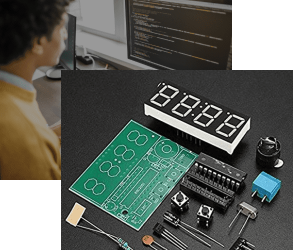 Clock Motherboard Man Coding Collage