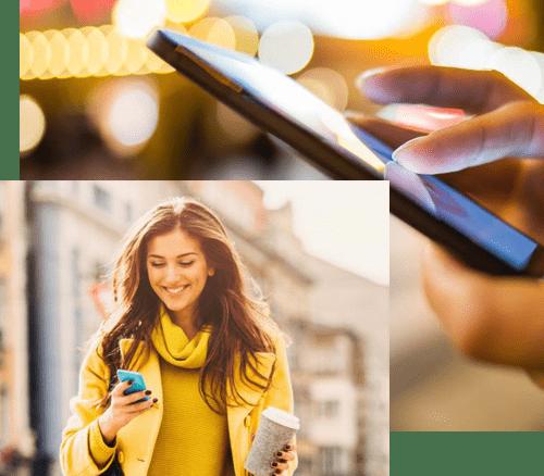 Femme Utilise Smartphone Applications Mobiles