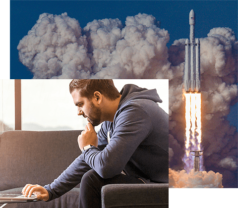 Collage of man on laptop and rocket in background