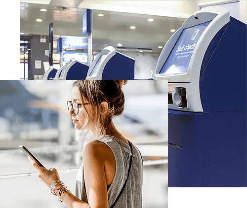 Collage of woman on phone and ATM machines