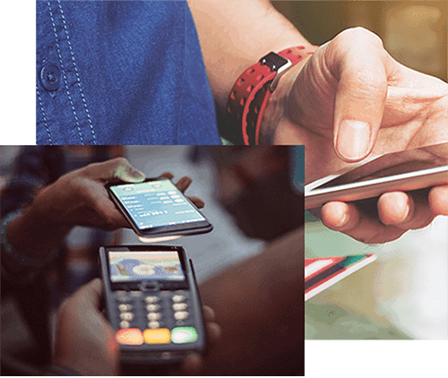 Collage of phone payment and person on phone